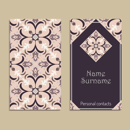 Vector business card template. Portuguese, Moroccan, Azulejo, Arabic, asian ornaments. Geometric motifs