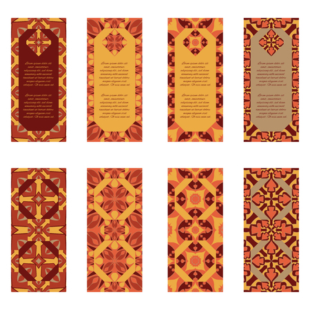 Vector set of colorful vertical banners for business and invitation. Portuguese, Azulejo, Moroccan; Arabic; asian ornaments. Geometric and floral motifs Ilustração
