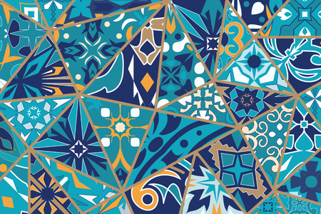 Vector decorative background. Mosaic patchwork pattern for design and fashion. Portuguese tiles, Azulejo, Moroccan ornaments