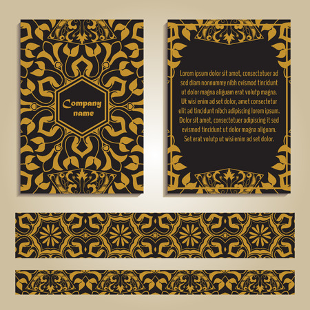Vector set of colorful brochure templates and borders for business and invitation. Moroccan; Arabic; asian ornaments in golden color. Geometric and floral motifs. A4 format