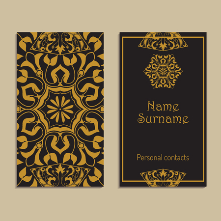 Vector business card template. Moroccan, Arabic, asian ornaments in golden color. Geometric and floral motifs