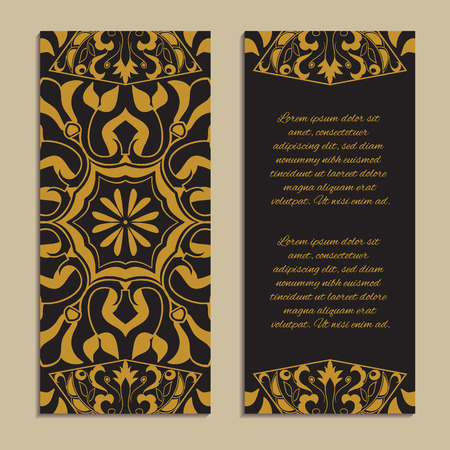 Vector set of colorful vertical banners for business and invitation. Spanish, Moroccan; Arabic; asian mosaic ornaments in golden color. Geometric and floral motifs Ilustração