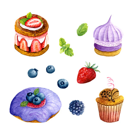Set of watercolor desserts. Collection of hand drawn decorative elements: donut, cake, cupcake, biscuit, berries and mint for design on white background Banco de Imagens