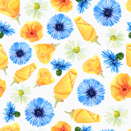 Seamless texture of watercolor summer meadow flowers. Bright floral print with natural elements. Pattern of decorative hand drawn ornament for wrapping, holidays design or invitation cards on white background Banco de Imagens