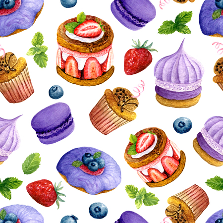 Seamless texture of watercolor desserts. Bright print with food elements. Pattern of decorative hand drawn ornament for wrapping, holidays design or invitation cards on white background