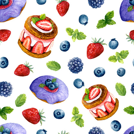 Seamless texture of watercolor desserts and berries. Bright print with food elements. Pattern of decorative hand drawn ornament for wrapping, holidays design or invitation cards on white background Banco de Imagens