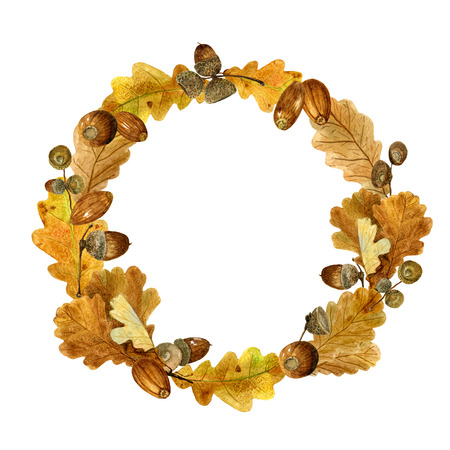 Watercolor wreath of autumn leaves and acorns. Fall composition of bright oak foliage and branches. Design of round frame for wedding, invitations or cards