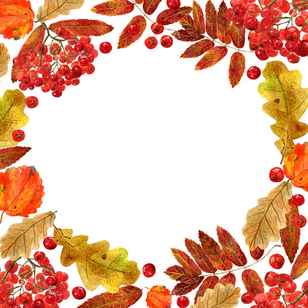 Watercolor fall frame. Background with autumn foliage of oak, aspen, rowan and berries, and place for text. Design for wedding, invitations or cards Banco de Imagens