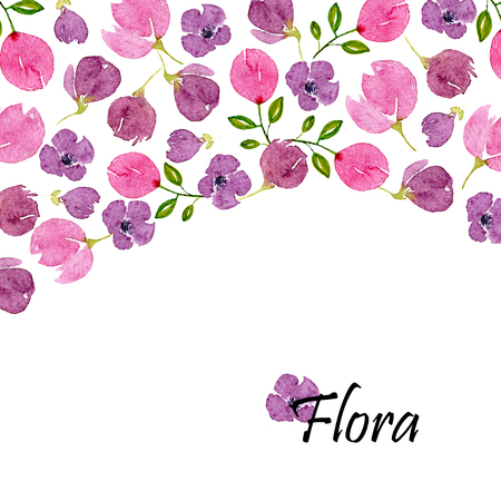 Watercolor floral background with lilac blossom and place for text. Template with pink and violet flowers. Design for wedding, invitations or cards