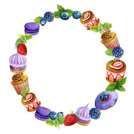 Watercolor wreath of sweet desserts and berries. Tasty composition of cakes, macaron, biscuits and mint. Design of round frame for wedding, invitations or cards