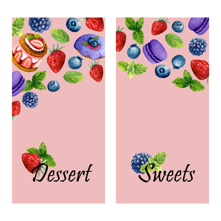 Set of two vertical banners with watercolor sweet desserts, mint and place for text. Templates with donut, cake, macarons and berries. Design for wedding, invitations or cards