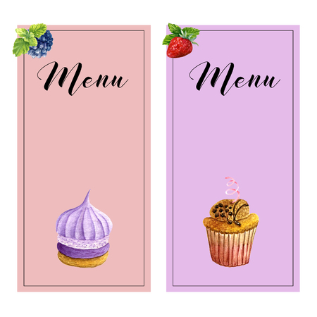 Set of two vertical menu templates with watercolor sweet desserts, mint and place for text. Collection of cards with cupcake, biscuit and berries. Design for wedding or invitations