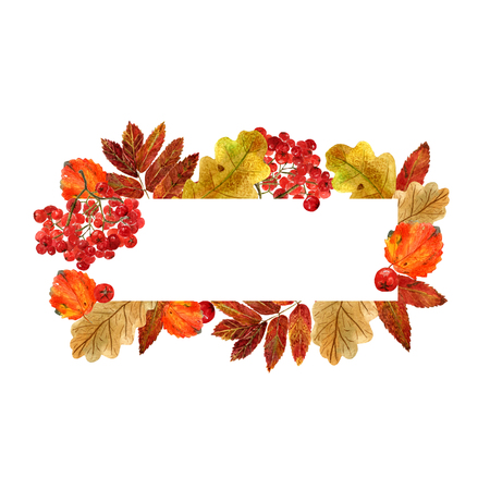 Watercolor rectangular frame with autumn leaves and berries. Background with fall foliage, rowanberry and  place for text. Design for wedding, invitations or cards