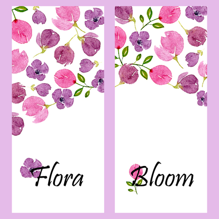 Set of two vertical banners with watercolor lilac blossom and place for text. Templates with floral violet patterns. Design for wedding, invitations or cards Banco de Imagens