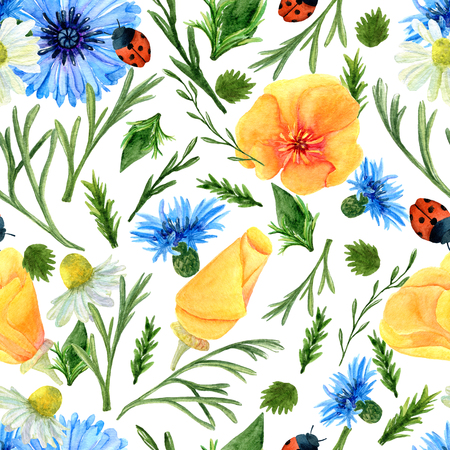 Seamless texture of watercolor summer meadow flowers, ladybirds and herbs. Bright floral print with natural elements. Pattern of decorative hand drawn ornament for wrapping, holidays design or invitation cards Banco de Imagens