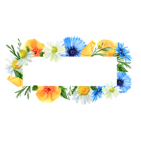 Watercolor rectangular frame with summer meadow flowers and herbs. Background with floral pattern and  place for text. Design for wedding, invitations or cards Banco de Imagens