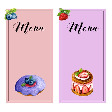 Set of two vertical menu templates with watercolor sweet desserts, mint and place for text. Collection of cards with donut, cake and berries. Design for wedding or invitations Stok Fotoğraf