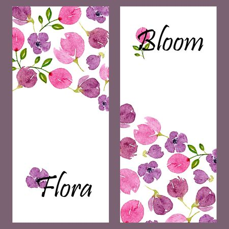 Set of two vertical banners with watercolor lilac blossom and place for text. Templates with floral violet patterns. Design for wedding, invitations or cards Stock Photo