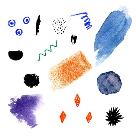 Set of abstract elements in different hand drawn techniques: watercolor spots, wax crayons and ink. Collection of terms for creative artistic design. Modern collage style made by scribble, splashes and geometric shapes