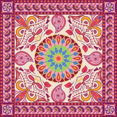 Vektorhintergrund mit ethnischer indischer Kalamkari-Verzierung. Dekoratives Blumenmuster mit Paisley. Ornamentales Volksdesign im orientalischen Stil