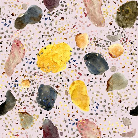 Seamless texture of watercolor terrazzo flooring pattern. Classic italian floor design in Venetian style. Abstract geometric print with natural materials: stone, granite, quartz, marble and concrete