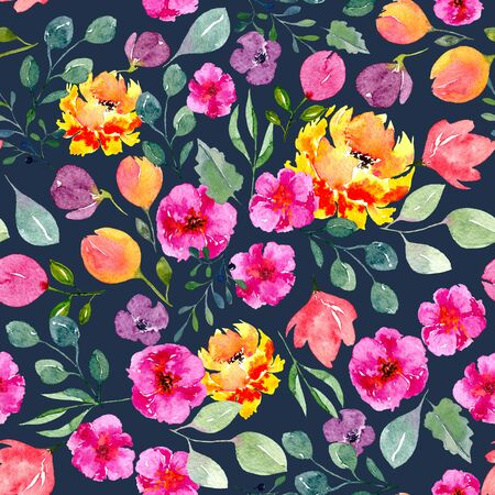 Seamless texture of watercolor flowers and leaves on dark background. Bright summer print with foliage and floral elements. Pattern of decorative hand drawn ornament for wrapping, wedding design or invitation cards Foto de archivo - 130546209