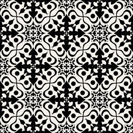 Vector seamless texture. Monochrome background with ethnic oriental ornament. Ornamental decorative pattern