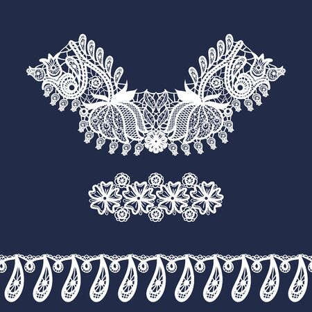 Vector lace neckline, pattern and border. Neck print with floral ornament. Imitation of needlework design. Decorative elements for design and fashion. Lacy vintage ornament