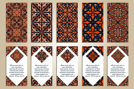 Vector set of colorful vertical banners for business and invitation. Ethnic asian ornaments. Ornamental design in oriental style. Geometric and floral motifs