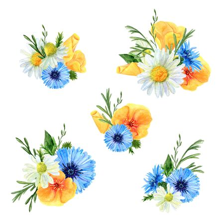 Set of watercolor floral arrangements. Collection of natural hand drawn prints with summer meadow flowers and herbs. Bouquets of blossom and greenery on white background