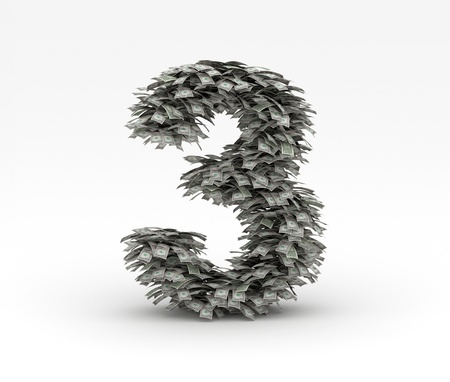 Dollars letter number 3 Stock Photo - 12668947