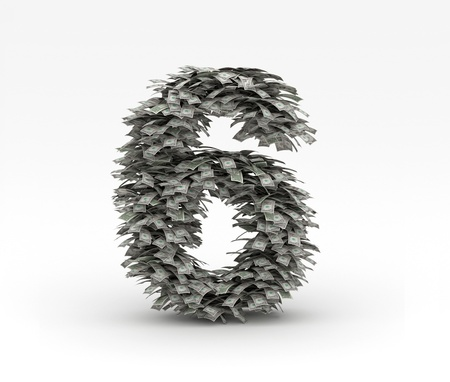 Dollars letter number 6 Stock Photo - 12668955