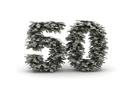 50 number: Number  50 from dollars banlknotes