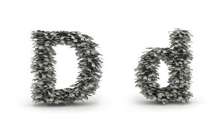 letter d: Dollars leafs letter D
