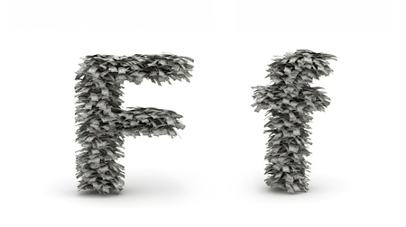 Dollars leafs letter F Stock Photo - 12668856