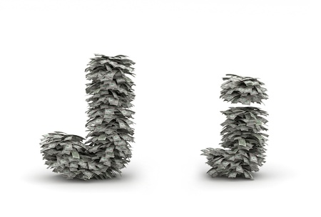 Dollars leafs letter J Stock Photo - 12668845