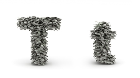 Figure maked from dollars like leaves, symbol of letter  t Stock Photo - 12668853