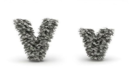 Figure maked from dollars like leafs, symbol of letter v Stock Photo - 12668857