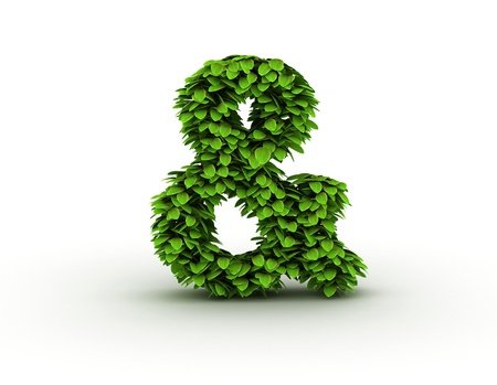 ampersand: Ampersand sign, alphabet of green leaves Stock Photo