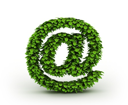 Symbol at , alphabet of green leaves