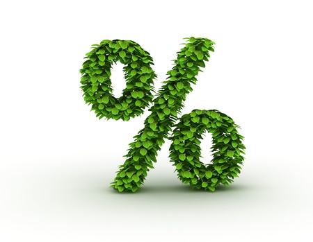 Percent symbol, alphabet of green leaves