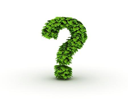 punto interrogativo: Punto interrogativo, alfabeto di foglie verdi