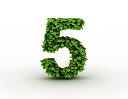 number 5: Number 5, alphabet of green leaves
