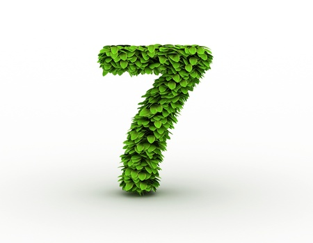 Number  7, alphabet of green leaves