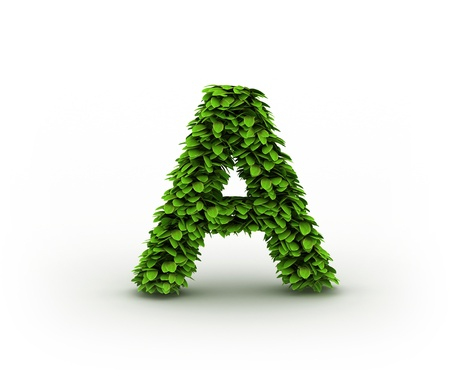 Letter  A, alphabet of green leaves