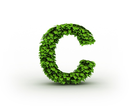 Letter  C, alphabet of green leaves Stock Photo