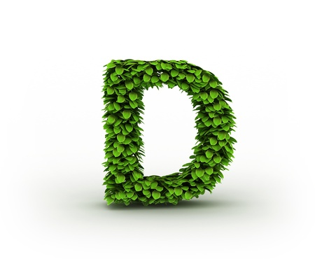 Letter  D, alphabet of green leaves