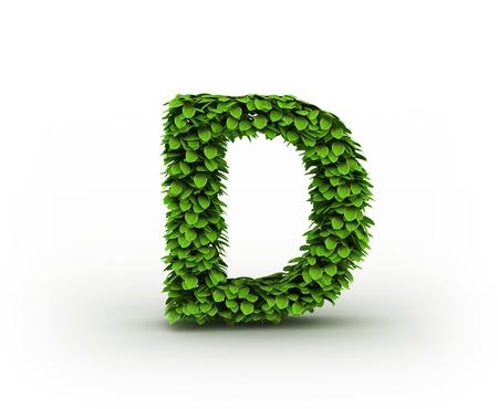 letter background: Letter  D, alphabet of green leaves