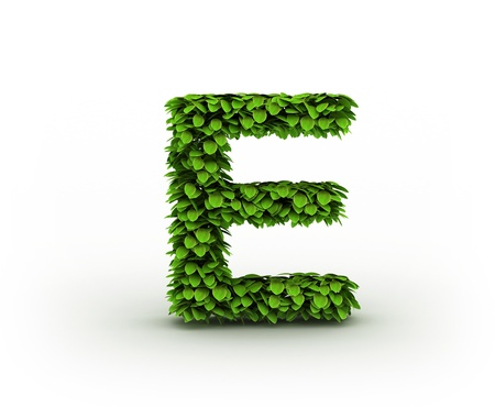 Letter  E, alphabet of green leaves Stock Photo