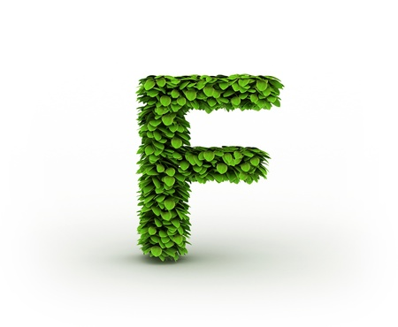 Letter  F, alphabet of green leaves photo